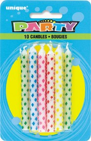 Diamond Dot Birthday Candles Multi (10ct) - Pack of 12