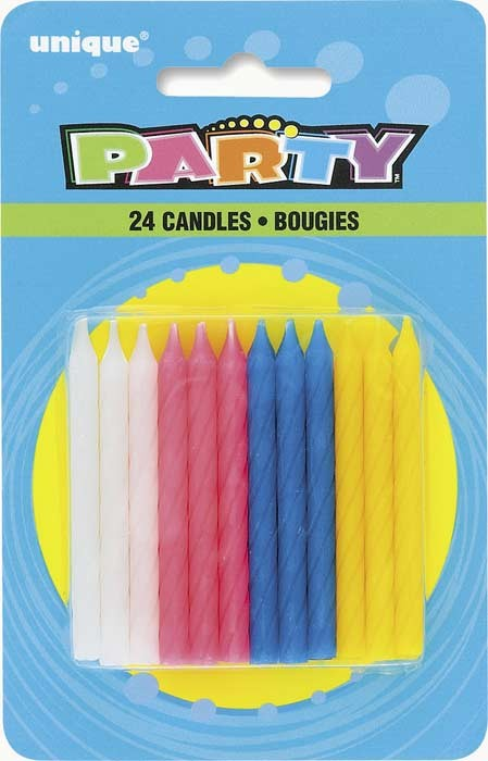 24 Twist Birthday Candles - Assorted Colours - Pack of 12