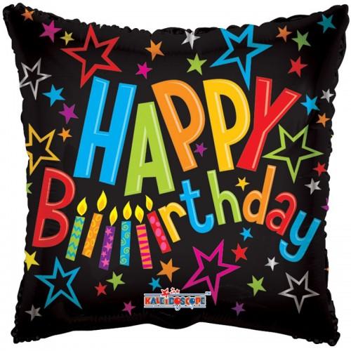 "Happy Birthday on Black - 18"" foil balloon"