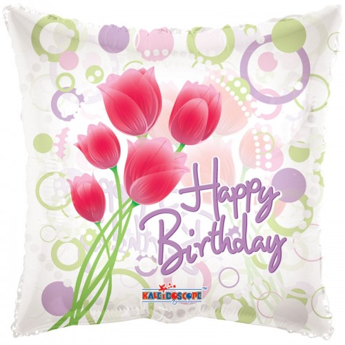 "Happy Birthday - Tulips - (Transparent) - 18"" foil balloon"
