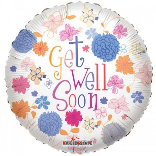 "Get Well - Pastel Flowers - 18"" Foil Balloon"