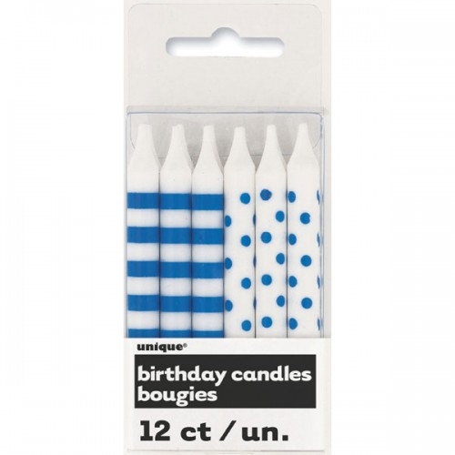 Royal Blue Stripes and Dots Birthday Candles (12)