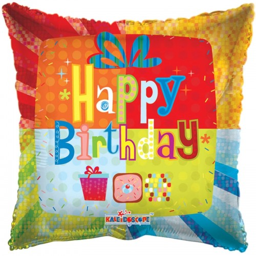 "Happy Birthday - Abstract Present - 18"" foil balloon"
