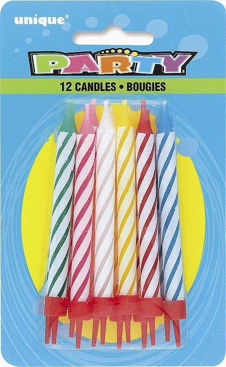 Spiral Birthday Candles in Holders Asst. Colours 12CT. - Pack of 12