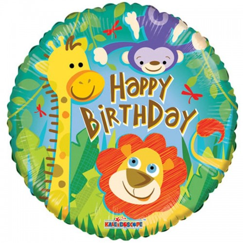 "Happy Birthday - Jungle - 18"" foil balloon"