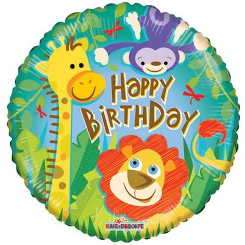 "Happy Birthday - Jungle - 18"" foil balloon"