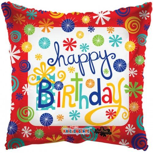 "Happy Birthday - Swirls - 18"" foil balloon"