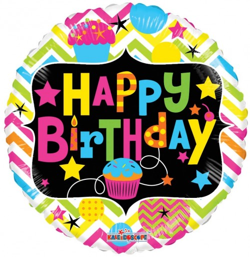 "Happy Birthday with Cupcake Neon - 18"" foil balloon"
