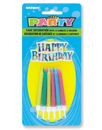 Happy Birthday Rainbow Cake Topper with 12 Birthday Candles and Holders - Pack of 12