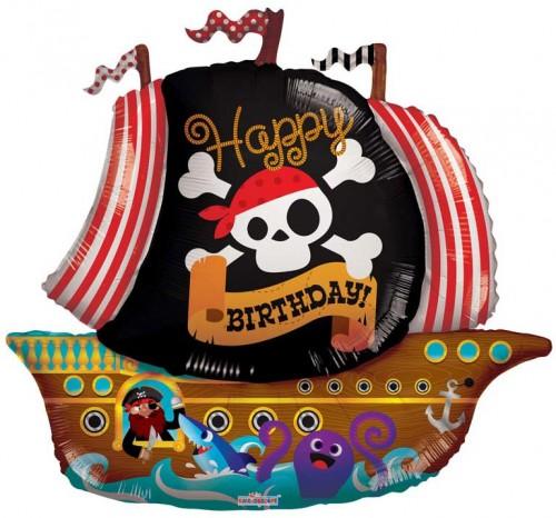 Happy Birthday Pirate Boat Ship Shape (36inch)