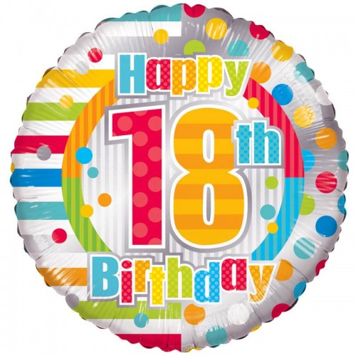 "Unisex Happy 18th Birthday - 18"" foil balloon"