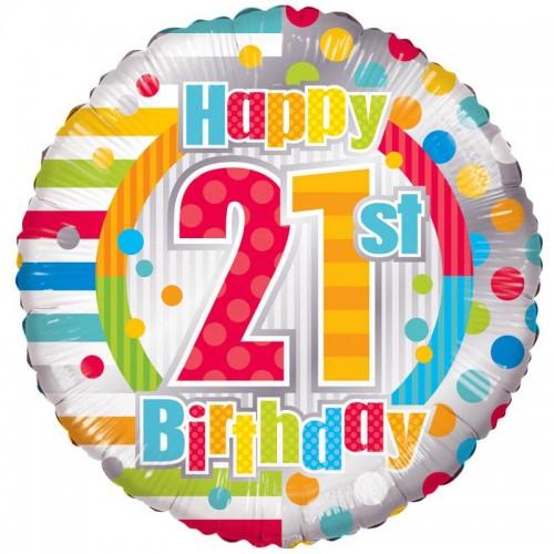 "Unisex Happy 21st Birthday - 18"" foil balloon"