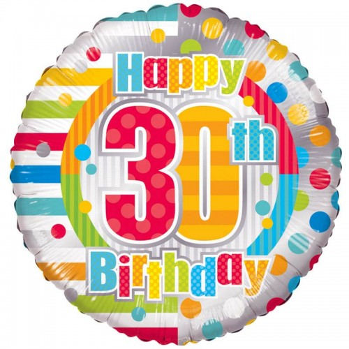 "Unisex Happy 30th Birthday - 18"" foil balloon"