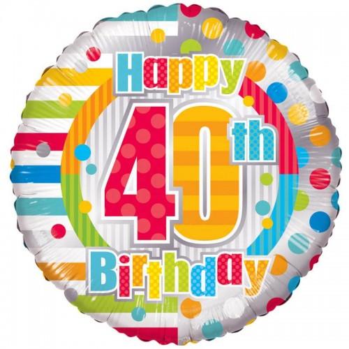 "Unisex Happy 40th Birthday - 18"" foil balloon"
