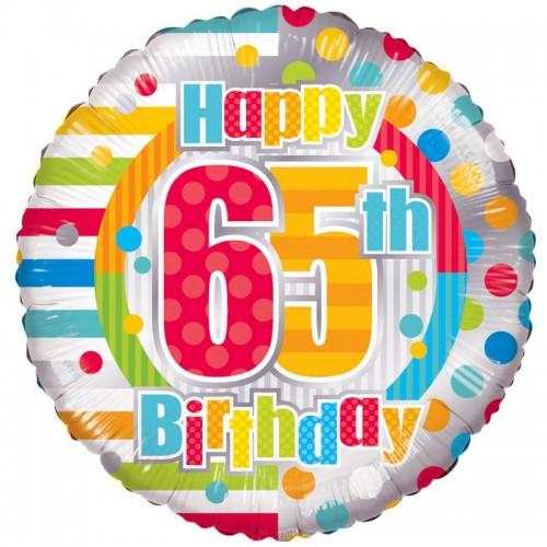 "Unisex Happy 65th Birthday - 18"" foil balloon"