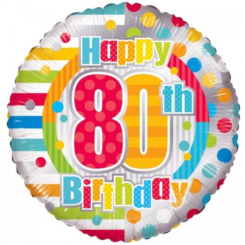 "Unisex Happy 80th Birthday - 18"" foil balloon"