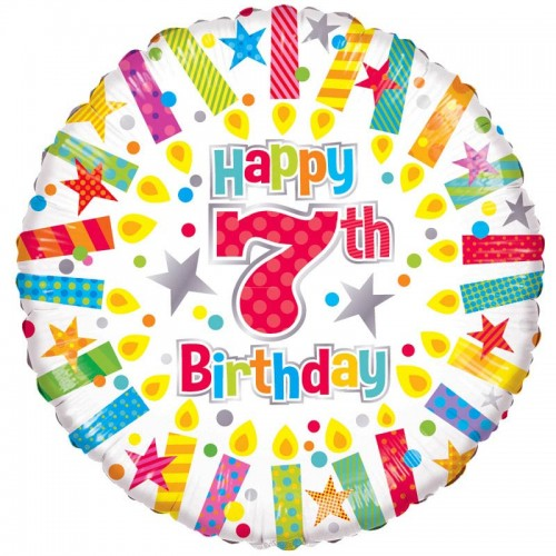 """Happy 7th Birthday Candles - 18"""" foil balloon"""