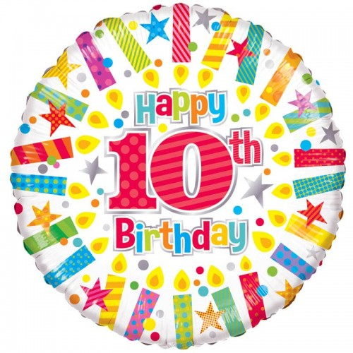 """Happy 10th Birthday Candles - 18"""" foil balloon"""