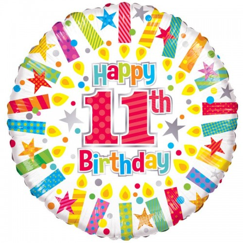 """Happy 11th Birthday Candles - 18"""" foil balloon"""