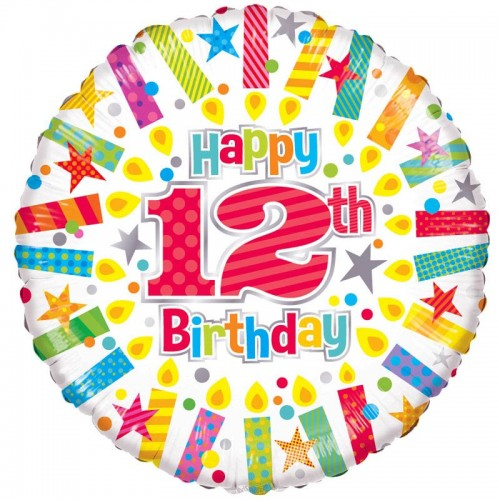 "Happy 12th Birthday Candles - 18"" foil balloon"