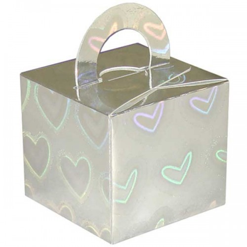 Silver Holographic Hearts Balloon Weight / Gift Box 10CT