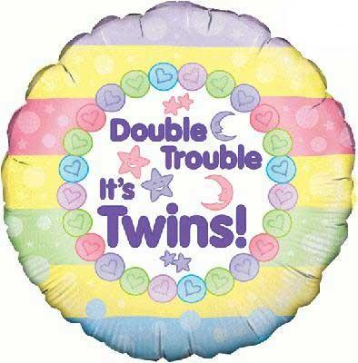 "Double Trouble, It's Twins - 18"" Foil Balloon"