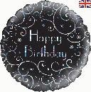 "Happy Birthday Black Swirls - 18"" foil balloon"