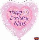 "Happy Birthday Nan - Heart - 18"" foil balloon"