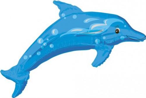 Dolphin - Blue - Street Treat Shape - helium foil balloon