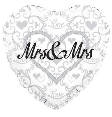 """Mrs and Mrs Wedding - 18"""" foil balloon"""
