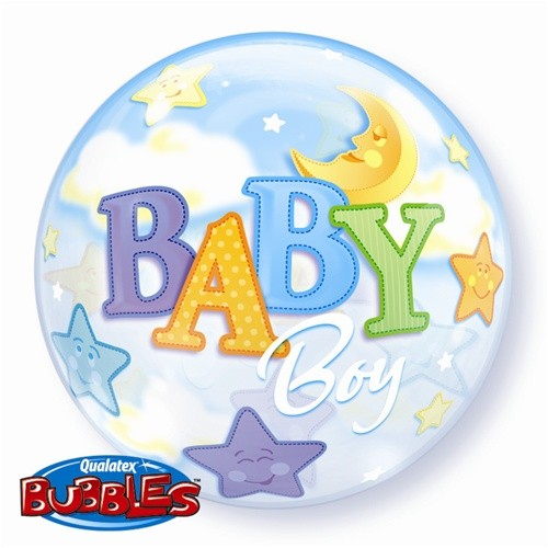 "Baby Boy Moon & Stars 22"" Bubble"