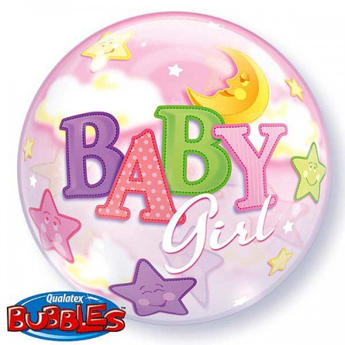 "Baby Girl Moon & Stars 22"" Bubble"
