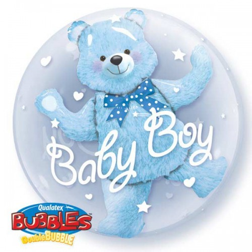 "Baby Blue Bear - 24"" Double Bubble"