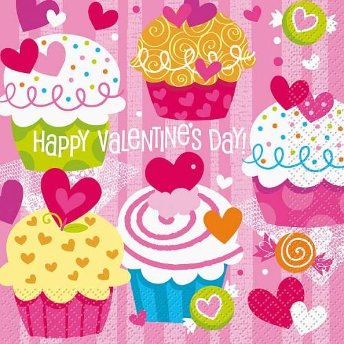 Luncheon Napkins - Valentine Cupcake Heart - 16CT.