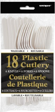Bright White Plastic Cutlery Assorted 18 CT.