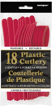 Ruby Red Plastic Cutlery Assorted