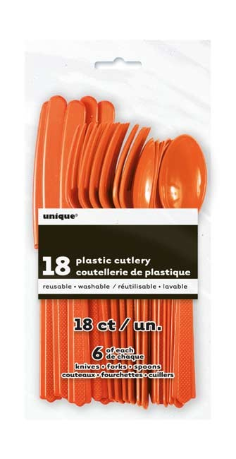 Pumpkin Orange Plastic Cutlery 18 CT.