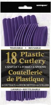 Deep Purple Plastic Cutlery Assorted 18 CT.