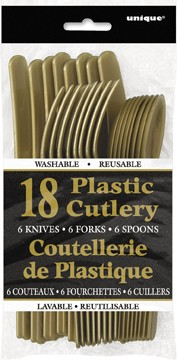 Gold Plastic Cutlery Assorted 18 CT.
