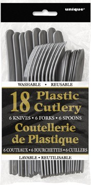 Silver Plastic Cutlery Assorted - 18 CT.