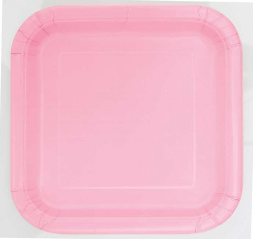 """Lovely Pink 9"""" Square Plates 14 CT."""