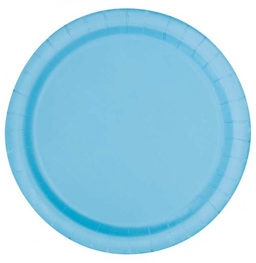 "Powder Blue 9"" Round Plates 16 CT."
