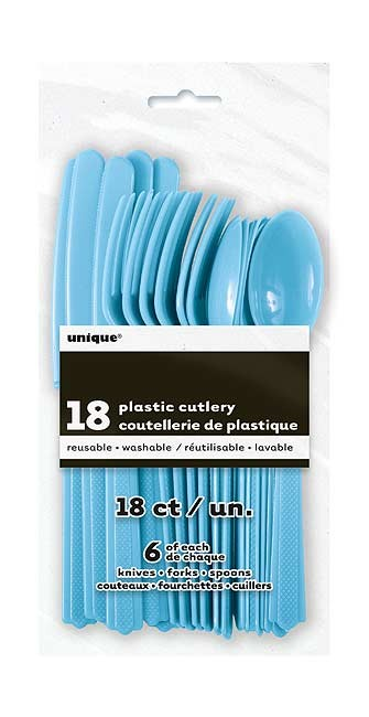 Powder Blue Plastic Cutlery Assorted 18 CT.
