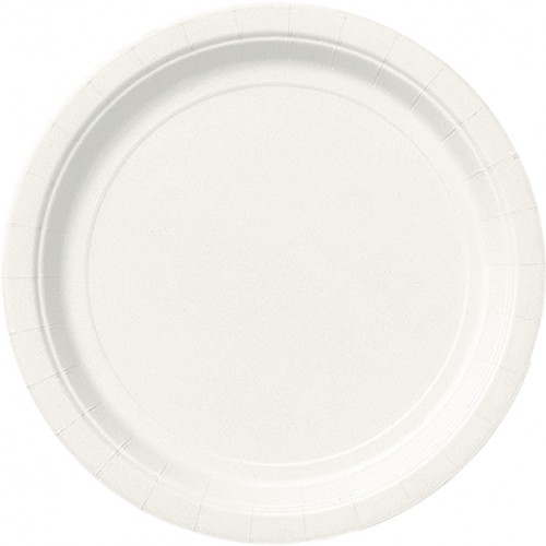 Bright White 9'' Round Plates - 8 CT.