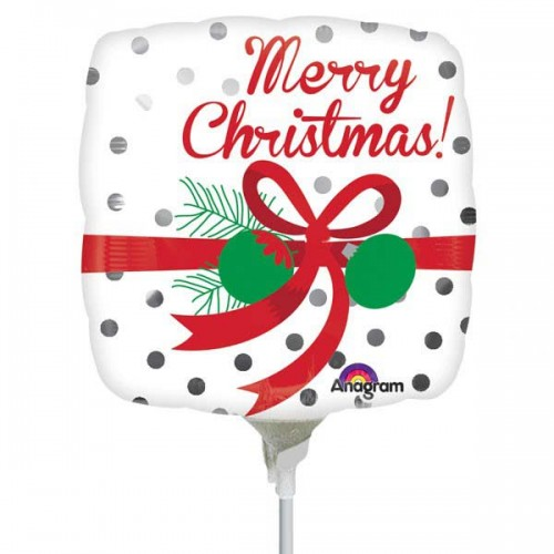 """Silver Dots Merry Christmas 9"""" Air Inflation Foil Balloon - Flat"""