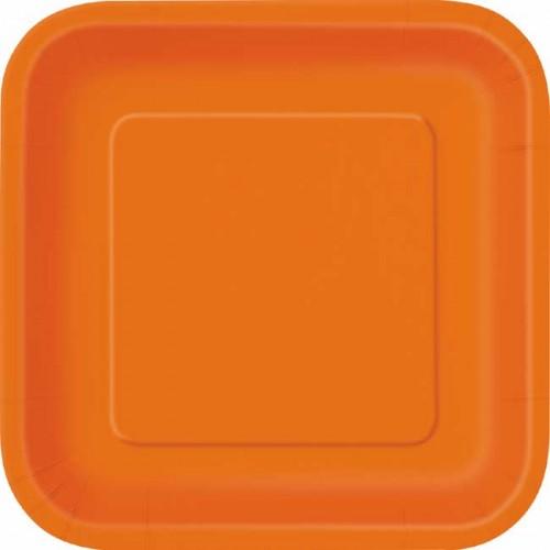 Pumpkin Orange 9'' Square Plates 14 CT.