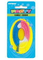 RAINBOW NUMERAL 0 CANDLE Pack of 6