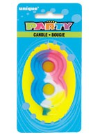 RAINBOW NUMERAL 8 CANDLE Pack of 6
