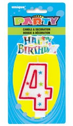 NUMERAL 4 GLITTER CANDLE WITH CAKE DECOR (Pack of 6)