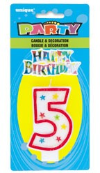 NUMERAL 5 GLITTER CANDLE WITH CAKE DECOR (Pack of 6)